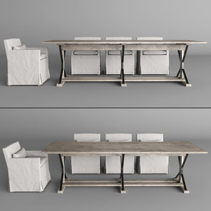 3d industrial dining table 3 model