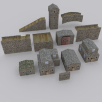 medieval environment modular 3d model