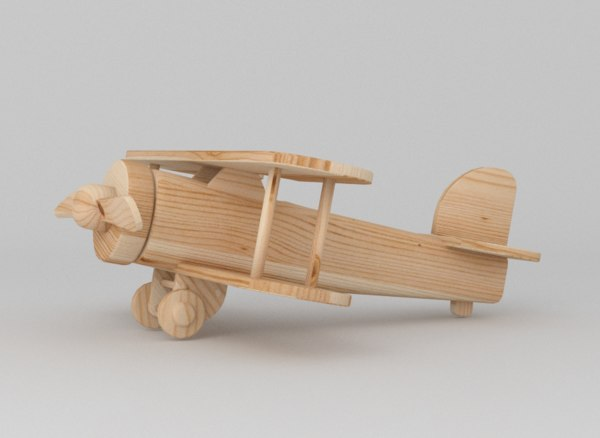 3d wooden toy plane model