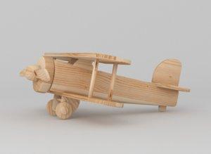 3d wooden toy plane model