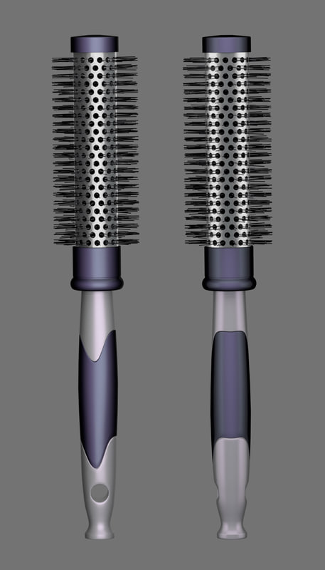 3d hair brush model