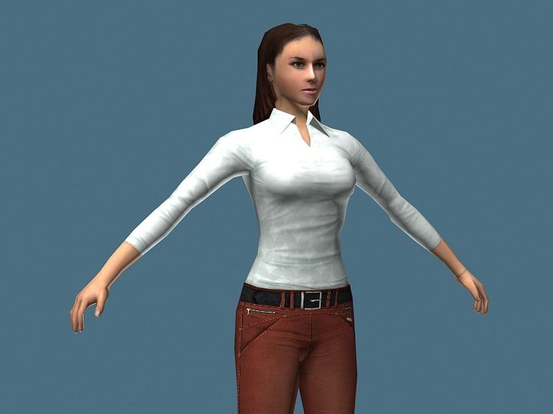 3d model girl sport
