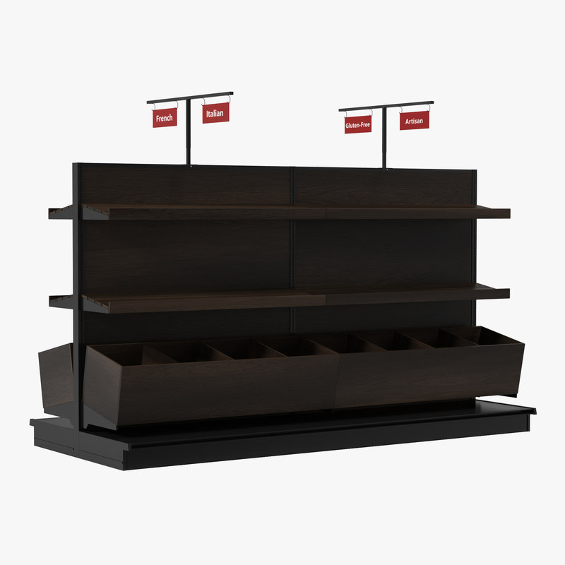 3d bakery display shelves dark