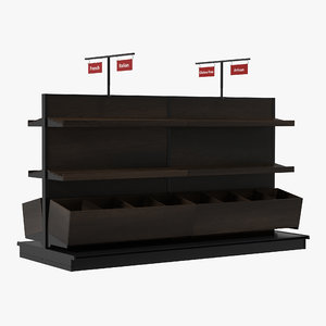 3d bakery display shelves dark