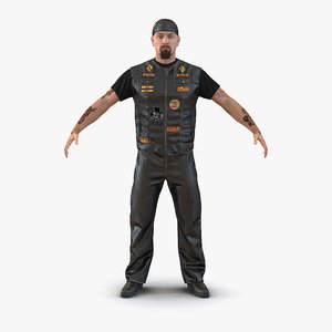 3d model biker man fur