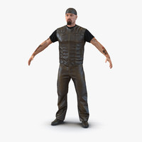 3d model of biker man fur generic