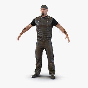 3d model of biker man fur generic