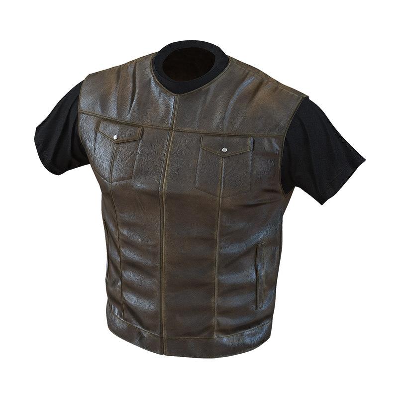 biker vest generic 2 3d 3ds