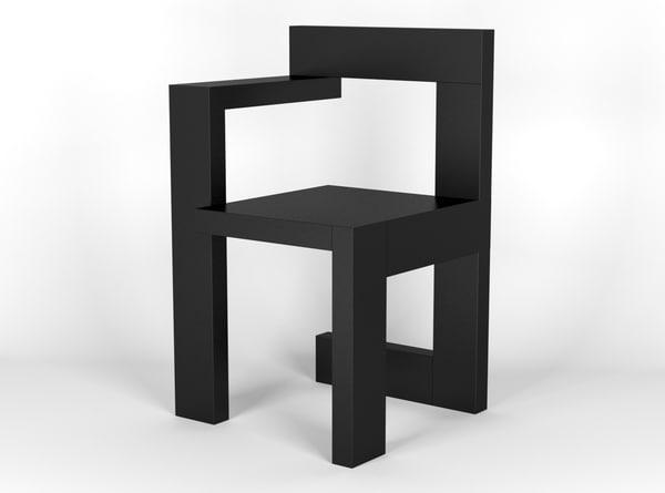3d model asymmetrical steltman chair designed