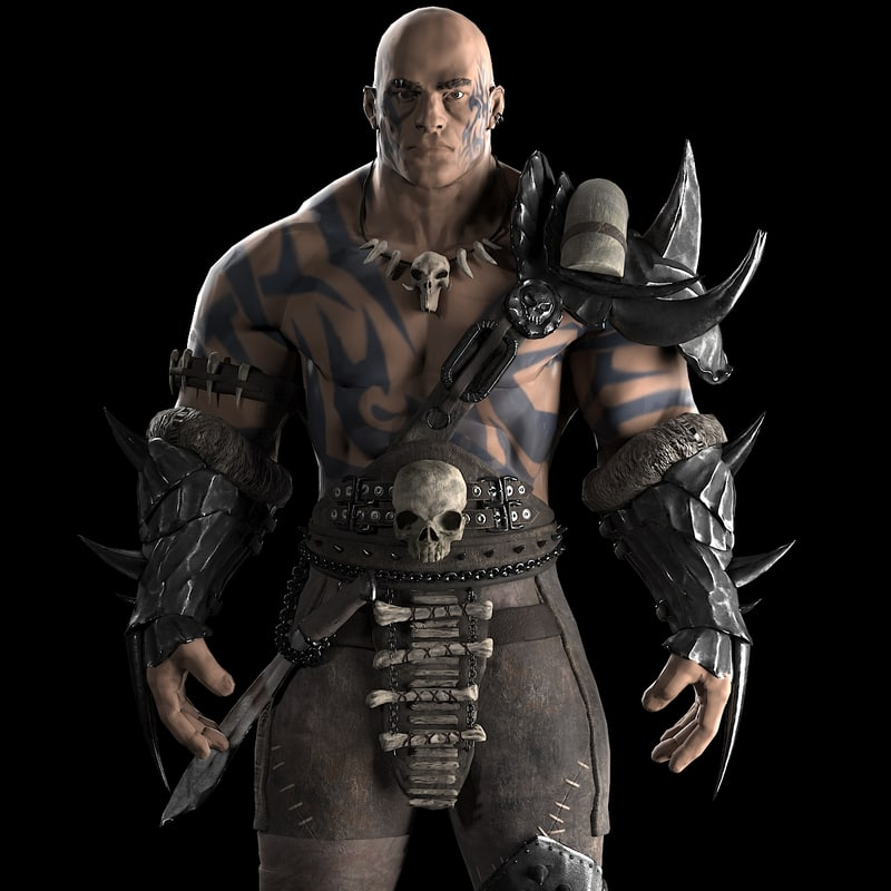 realistic warrior character 3d 3ds