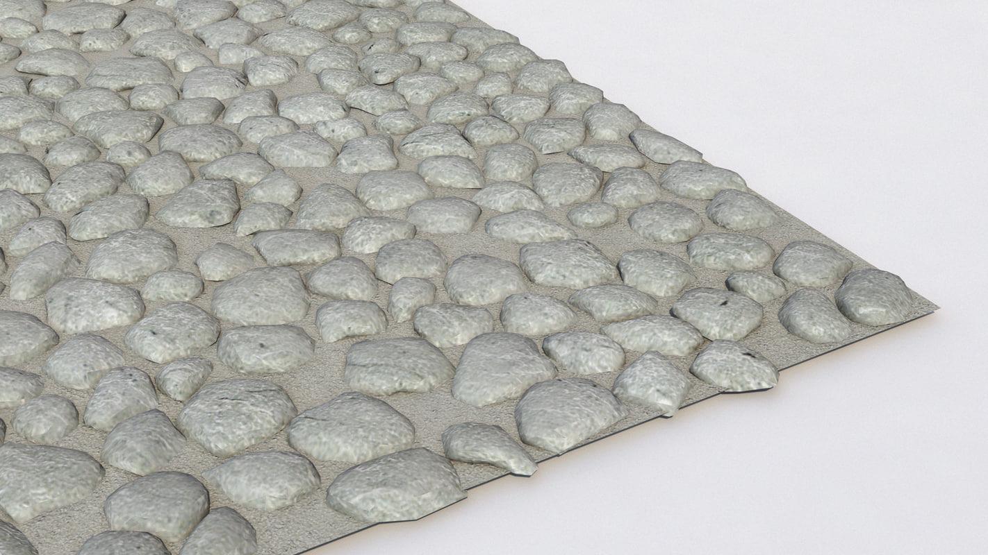 3d model pebble flooring