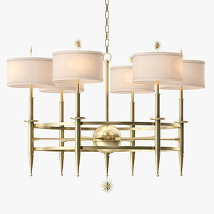 classic star arm chandelier-brass 3d max