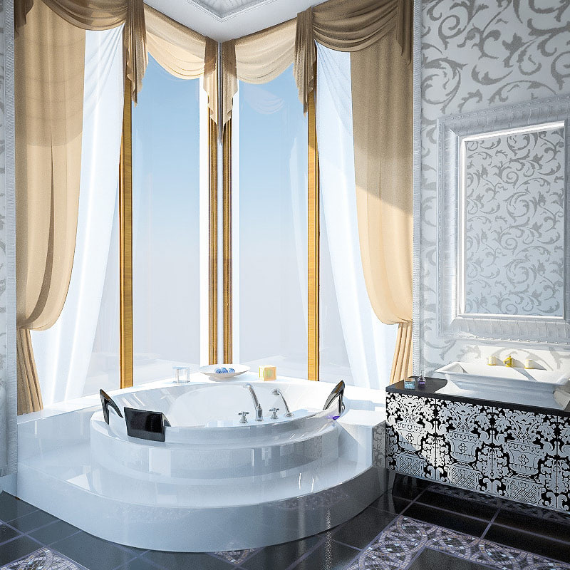 luxury bathroom interior 3d model