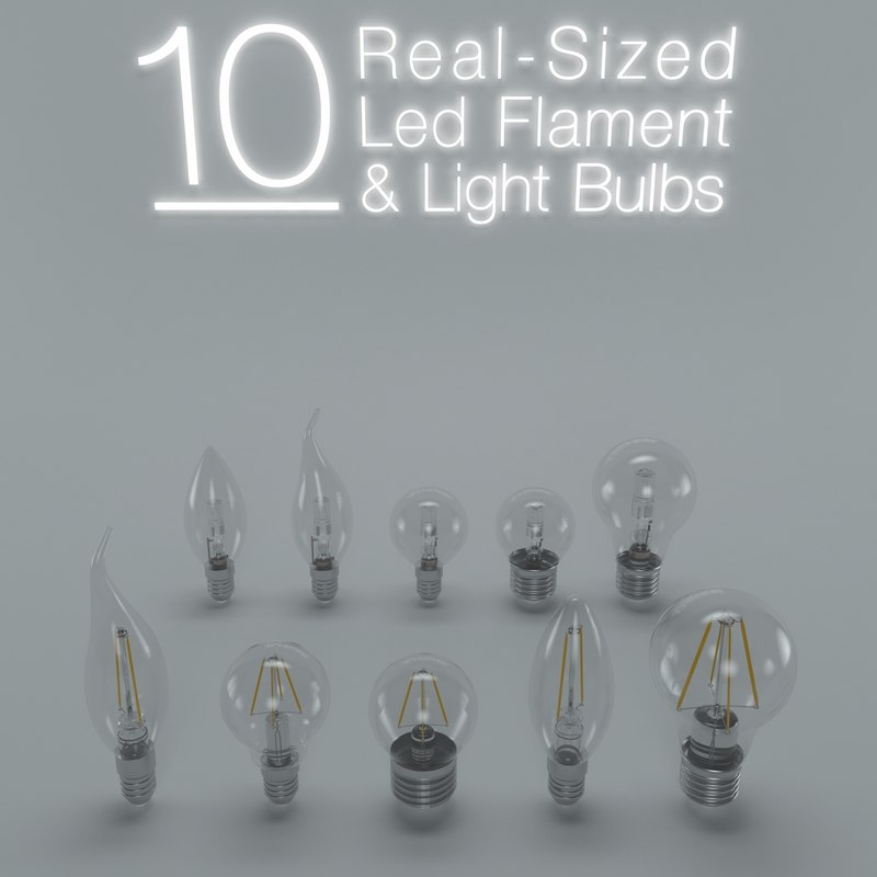 led flament light bulb 3d max