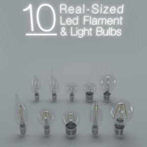 led flament light bulb 3d max