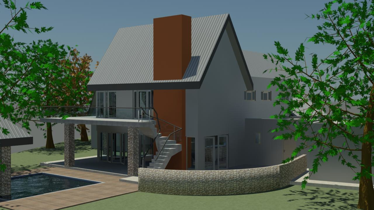 House pitched roof 3d 3ds