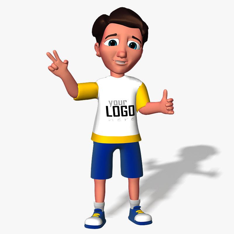 3d cartoon boy kid model