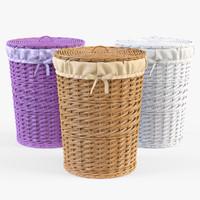 3d model wicker laundry basket set