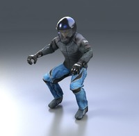 3d biker clothed redline model