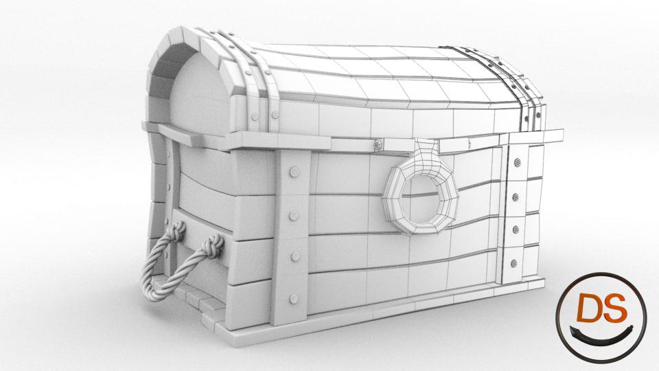 3d model cartoon chest