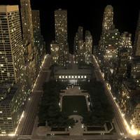 Manhattan District 03 Night Low Poly