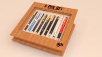 blender kit 9 pens 3d model