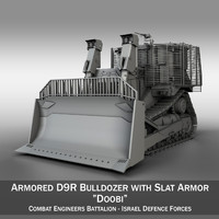 Israeli Armored D9R Bulldozer with Slat Armor