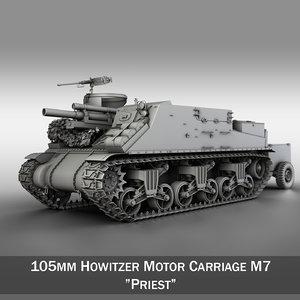 m7 priest - howitzer 3d 3ds