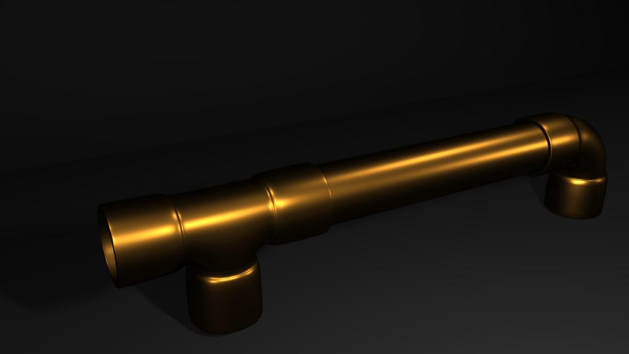 pipe fittings copper 3d model