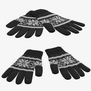 3d model gloves 03 poses
