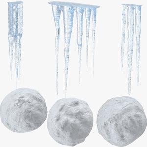 icicles snowballs 3d model