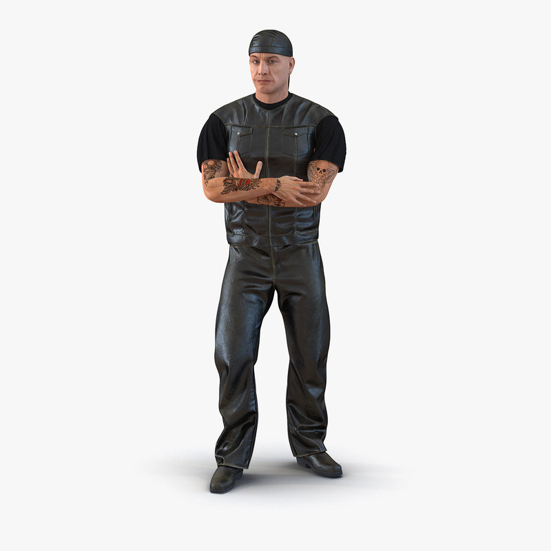 biker man generic rigged 3d model