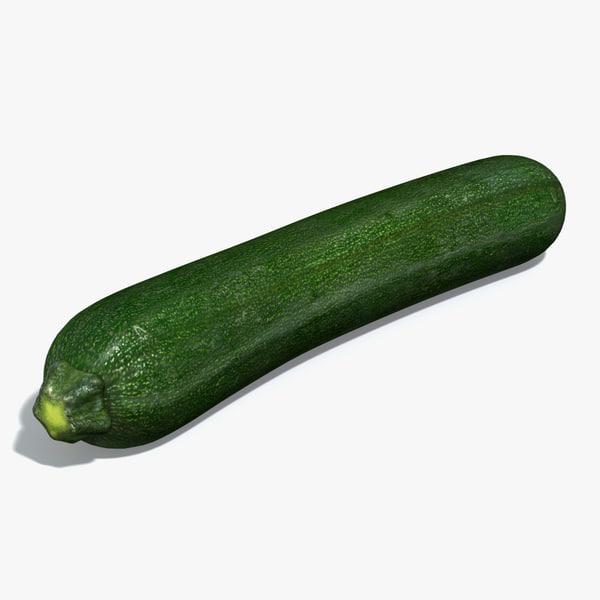 courgette zucchini 3d model