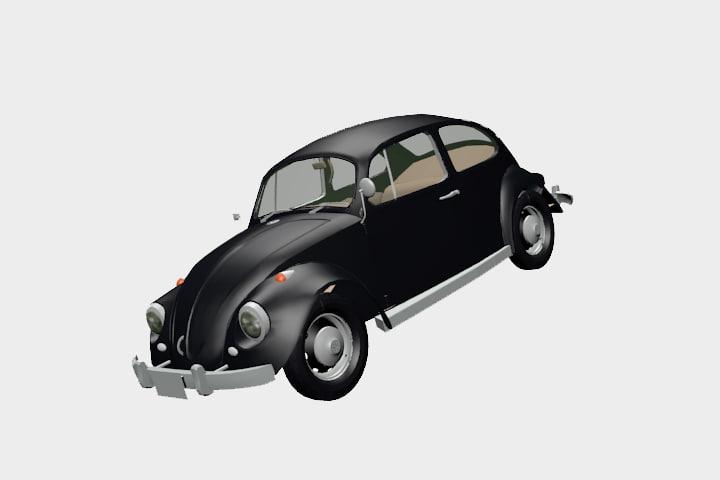 vintage bug 1950 s 3d model