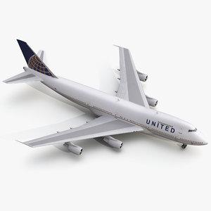boeing 747 200b united 3d max