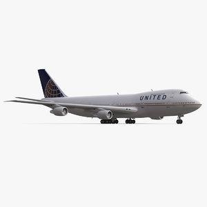 3d model boeing 747 200b united