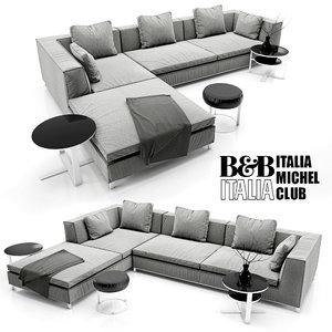 sofa b italia michel 3d model
