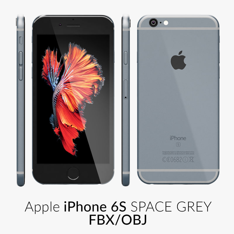 iphone 6s space grey 3d obj