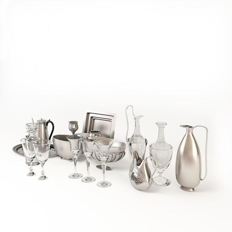 glass silver ware 3d model