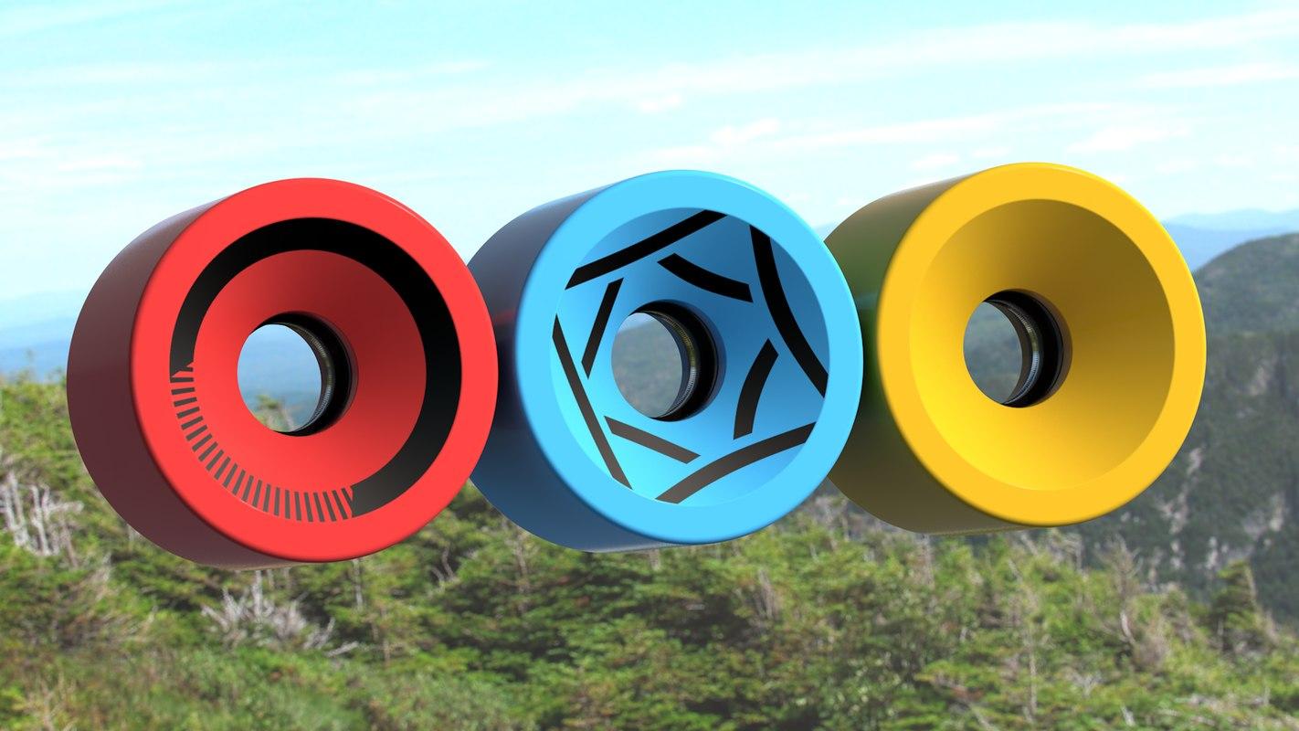 longboard wheels 3d model