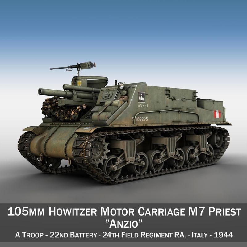 m7 priest - artillery 3d 3ds