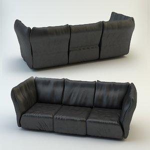 leather sofa edra 3d model