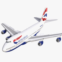 boeing 747 200b british airways 3d model
