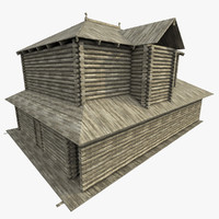 3d ancient log house model