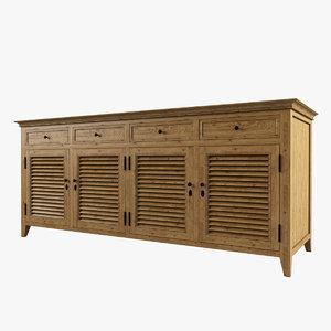 3d restoration hardware shutter cabinet