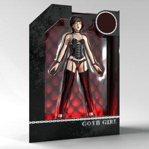 rigged goth girl 1 3d blend