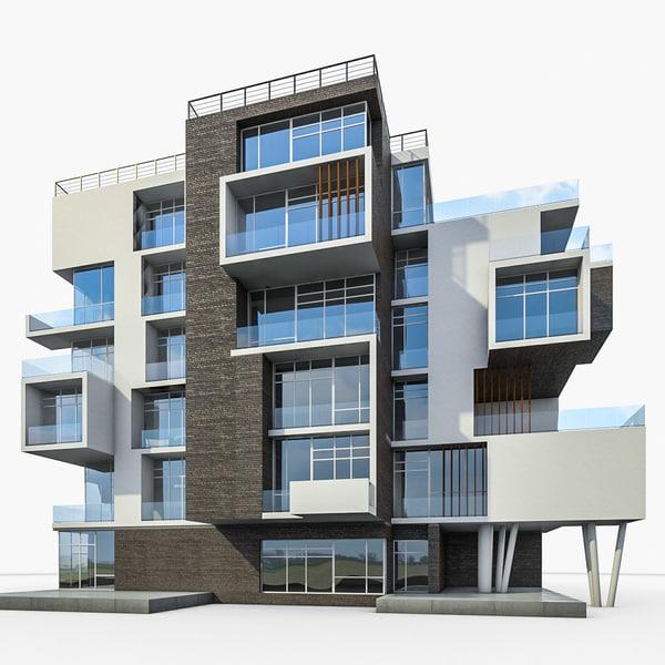 3d model apartment house building