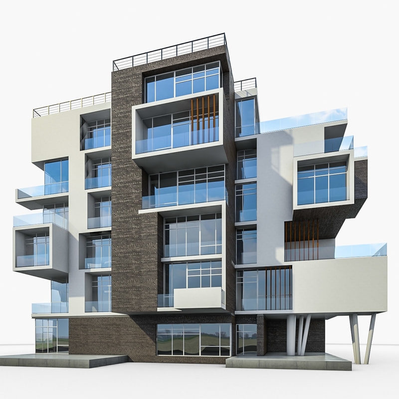 3d model apartment house building for Modern residential house