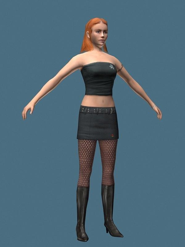 3d model heel girl
