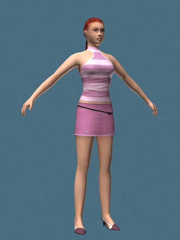 3d model of heel girl